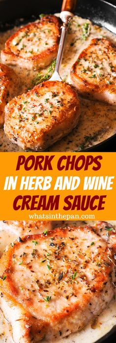 Neat Easy pork chop recipe made with dry white wine, juice of a fresh lemon, garlic and thyme – this is one of the best pork chop recipes I've ever had! dinner The post Pork Chops in Herb and Wine Cream Sauce appeared first on Julias Recipes . Best Pork Chop Recipe, Easy Pork Chop Recipes, Meat Recipes For Dinner, Healthy Recipes, Cooking Recipes, Sauce Recipes, Prok Chop Recipe, Good Food Dinner, Pork Dinner Ideas
