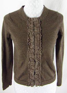 BANANA REPUBLIC Brown Front Ruching M Cardigan Sweater Merino Wool Hook & Eye $25.45