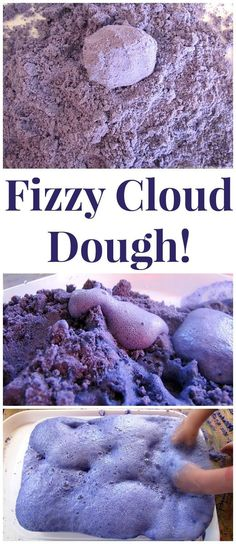 Make Fizzy Cloud Dough! Once the kids are done with the sensory aspect move on to the science of fizziness! from www.powerfulmothering.com