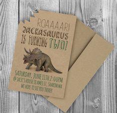 Dinosaur Birthday Party Invitation SET OF 5 Kraft Dino trex tyrannosaurus triceratops rex Kid Kids Children Child awesome by GetHappyDesign on Etsy https://www.etsy.com/listing/463373047/dinosaur-birthday-party-invitation-set