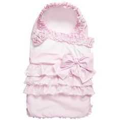 Baby girls pretty pale pink baby nest by Aletta, made from silky smooth polyester, lightly padded with a soft cotton jersey lining. It has gorgeous ruffle trims with white lace details and a bow on the front. Great for keeping baby warm and snug, it has a hood, with a cross-over style double layer on the front. The under layer fastens with a button and it has a zip fastener down the side and across the bottom, for easy access. It comes in a box, so it would make a lovely gift.