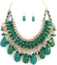 Green Gold teardrop beads Statement Bib necklace set Bold Chunky fashion jewelry | eBay