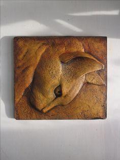 Cat Artwork Rufus Intense Look Sculptured Tile Pet Portrait Animal Art Decor… Ceramic Wall Art, Tile Art, Stone Carving, Wood Carving, Animal Sculptures, Sculpture Art, Clay Cats, Ceramic Animals, Mural Art