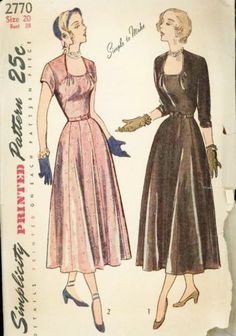 1940's Simplicity 2770 Simple to Make Dress Pattern Bust 38