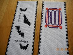 cross stitch bookmarks DebbyWebbyscards etsy shop Halloween bookmarks