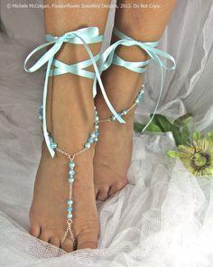 Barefoot Sandles, aqua wedding, blue bridesmaid foot jewelry, beaded beach jewelry for your feet, soleless sandals, beach shoes. GEORGIA via Etsy