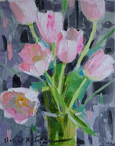 "Daily Paintworks - ""Holiday Tulips"" by Elena Katsyura"