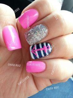 sailor nails, nautical nails, bling nails hot pink nails, Anchor nails, nail design