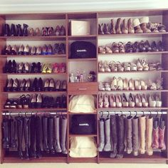 For making boots take a lot less space it's recommended to hang them, shoe closet idea - 13 Creative Ways To Organise Your Shoes, Inspired By Pinterest via @WhoWhatWearUK