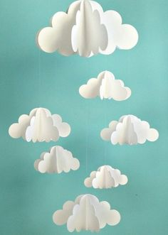 Your place to buy and sell all things handmade Cloud Mobile, Hanging Baby Mobile, Paper Mobile, N Kids Crafts, Diy And Crafts, Craft Projects, Arts And Crafts, Handmade Crafts, Summer Crafts, Paper Clouds, 3d Clouds, White Clouds