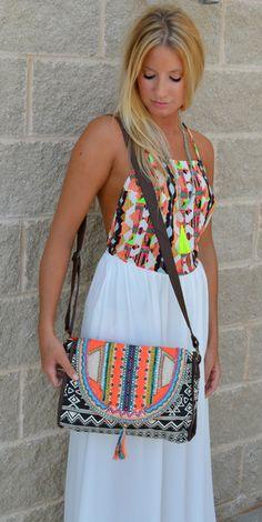Creme De Color Crossbody $42.99 #hautepinknwa #crossbody #aztec #clutch #bag #beaded #neon