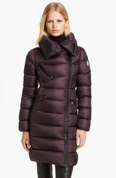 Moncler 'Fleurs Satin' Asymmetrical Zip Down Coat available at #Nordstrom LOVE IT!