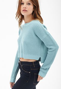 Cropped Waffle Knit Sweater | FOREVER21 - 2000121314