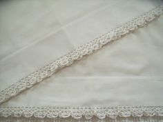 Pair Vintage Cannon Muslin Hand Tatted Crochet White Lace Pillowcases | eBay