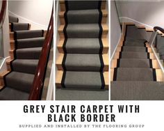 To supply & install grey stair carpet with black border to stairs Grey Stair Carpet, Carpet Stairs, Carpet Runner, Design Ideas, Flooring, Black, Home Decor, Decoration Home, Black People
