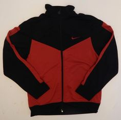 Kids Unisex Nike Athletic Track Jacket Red Black Sweatshirt Size Large 14-16 #Nike #Everyday