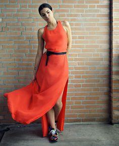 Orange dress #orangedresses #dresses #fashion #personalstyle #sneakers