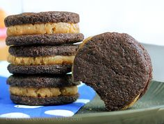 homemade peanut butter stuffed oreos- clean/healthy (used oat flour, SF maple syrup, stevia for all the sugar/sugar substitutes, 3/4 applesauce instead of coconut oil, 1/4 powdered peanut butter instead of regular, and fat free cream cheese instead of coconut butter. made a total of 10 sandwiches and only did half the filling recipe.. but AMAZING