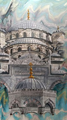 Oh Beautiful Istanbul, Mosque Architecture, Romanesque Architecture, Roman Architecture, Indian Architecture, Japanese Architecture, Ancient Architecture, Watercolor Architecture, Architecture Sketches, Famous Architecture