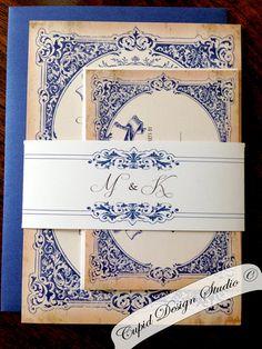 Navy blue and gold vintage elegant wedding by CupidDesigns on Etsy