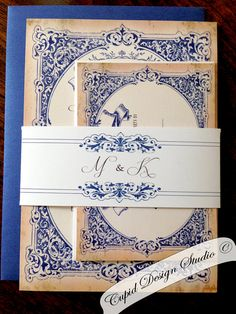 Navy blue and gold vintage elegant wedding by CupidDesigns on Etsy