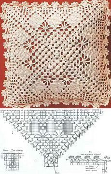 Letras e Artes da Lalá: crochet pillow Crochet Diagram, Crochet Chart, Thread Crochet, Filet Crochet, Crochet Motif, Crochet Designs, Crochet Doilies, Crochet Stitches, Crochet Pillow Cases