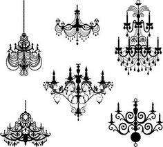 Such an appealing pretty selection of printable chandeliers. #printable #chandelier #downloadable #scrapbooking #crafts #vintage #glamorous