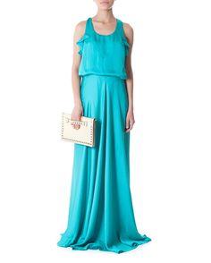 $369 Vestido acinturado com decote nas costas - Vestidoteca