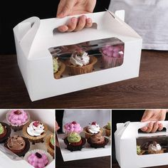 Handle Boxes are one of the easiest to carry packaging solutions that can be used for a variety of items.  #packaging #boxes #diecut #window #handleboxes #customized #business #products #GoCustomBoxes #USA Dessert Boxes, Cupcake Boxes, Cake Holder, Packaging Solutions, Cake Decorating Supplies, Custom Boxes, Kraft Paper, Favor Boxes, Mousse