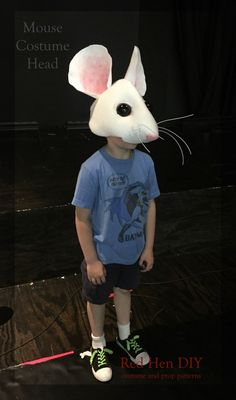 DIY Mouse (rat) costume head from RedHenDIY on Etsy. Sewn over a baseball cap and perfect for productions of Cinderella, Nutcracker and Charlotte's web.