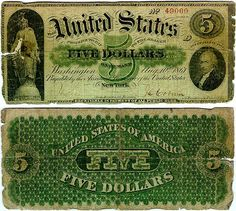 the first official paper currency entered circulation just a year before in 1861 with denominations of 5, 10, and 20 Dollars. T his original currency was called Demand Notes. United States Notes, which more closely resemble our paper money today, began to enter circulation in 1862, the same time as the Fractional Currency.