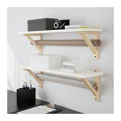 EKBY ÖSTEN / EKBY VALTER Wall shelf, white, birch white/birch 31 1/8x7 1/2