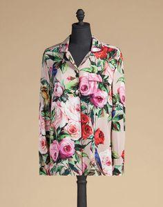 PAJAMA TOP IN PRINTED SILK - Long sleeve shirts - Dolce&Gabbana - Summer 2016