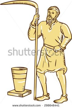 Etching engraving handmade style illustration of a medieval farmer farm worker holding scythe standing facing front with pot bucket pail set on isolated white background.