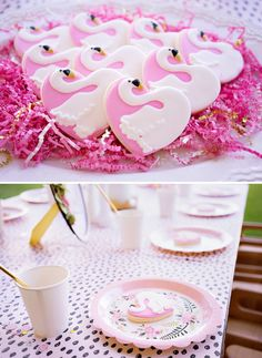 swan cookies and kids party table