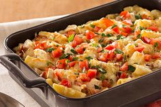 Cheesy with shredded Monterey Jack and hearty with chicken, bacon and rigatoni, this family-pleasing pasta bake is ready for the oven in just 20 minutes.