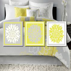 Modern Abstract Floral Flower Flourish Artwork Set of 3 Trio Prints Grey Gray Yellow White Wall Art Decor Bath Picture Bathroom Home on Etsy, $27.00