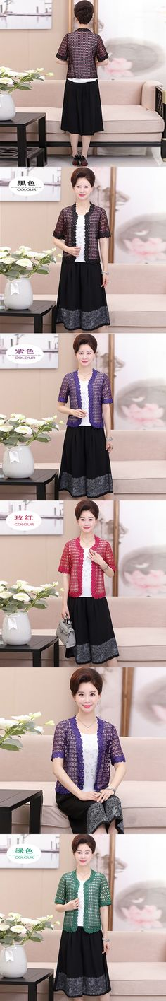 Middle-aged mom wore a summer short-sleeved, trousers plus a three-piece old women's dress size suit   PXRX113