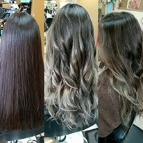 Natural dark brown to grey ombre