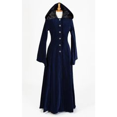 442 Beltane Coat (Forest Green or Midnight Blue) ($195) ❤ liked on Polyvore featuring outerwear, coats, blue coat, gothic hooded coat, full length coat, goth coat and leather-sleeve coats