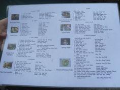 Op deze lijst stonden alle gerechten waaruit we konden kiezen. Hieruit hebben we er vier gekozen
