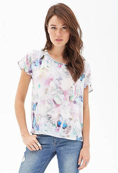 Watercolor Butterfly Woven Tee | FOREVER 21 - 2000136875
