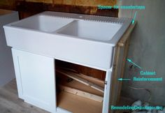 [ Ikea Domsjo Sink Non Kitchen Cabinet Diy Installation Double ] - Best Free Home Design Idea & Inspiration Ikea Sink Cabinet, Ikea Kitchen Sink, Ikea Sinks, Ikea Cabinets, Diy Kitchen Cabinets, Plywood Kitchen, Metal Sink, Kabine, Home Comforts