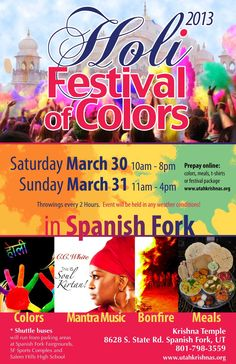 holi festival of colors 2013 - saturday march 30 and sunday march 31 in spanish fork, utah