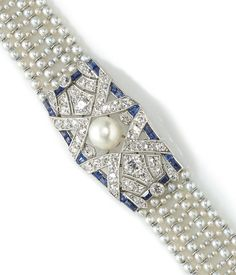 An art deco cultured pearl, seed pearl, sapphire and diamond bracelet