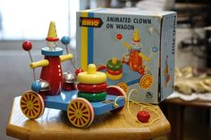 Vintage Wood Clown Toy - Vintage Brio Clown Wooden Pull Toy with Box - Rare Toy with Original Box - Made in Sweden Brio Toys, Pull Toy, Great Memories, Old Toys, Vintage Wood, Kids Playing, Wooden Toys, Sweden, Place Card Holders