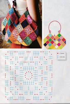 Diagram for square and layout image for this granny square bag.