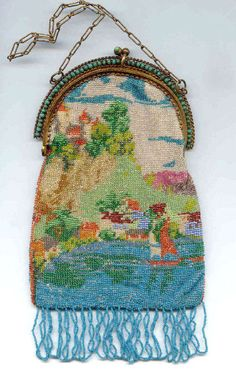 Scenic Sailboat Micro-beaded Purse with DOUBLE Jeweled Frame