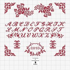 Cross stitch alphabet chart with roses