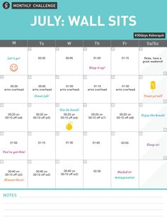 Monthly Wall Sit Challenge Calendar